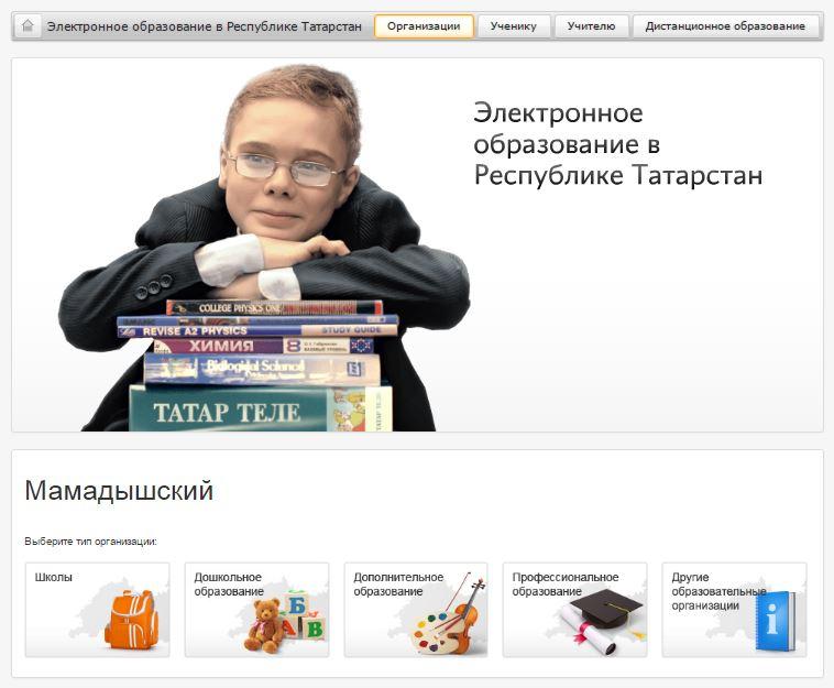 """Вкладка """"Организации"""" на электронное образование в Республике Татарстан"""