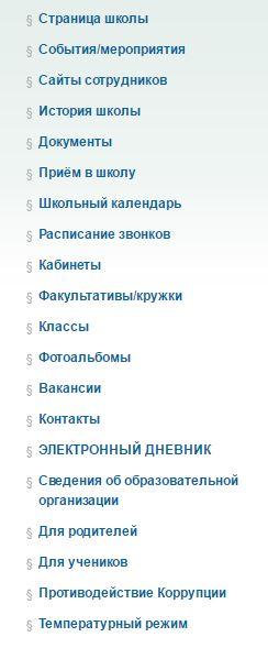 Вкладки на официальном сайте 52 школы города Киров